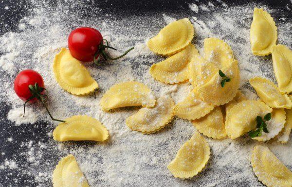 ravioli com tomates assados
